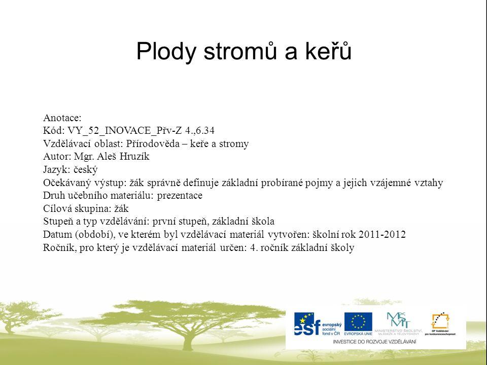 Plody stromů a keřů Anotace: Kód: VY_52_INOVACE_Přv-Z 4.,6.34