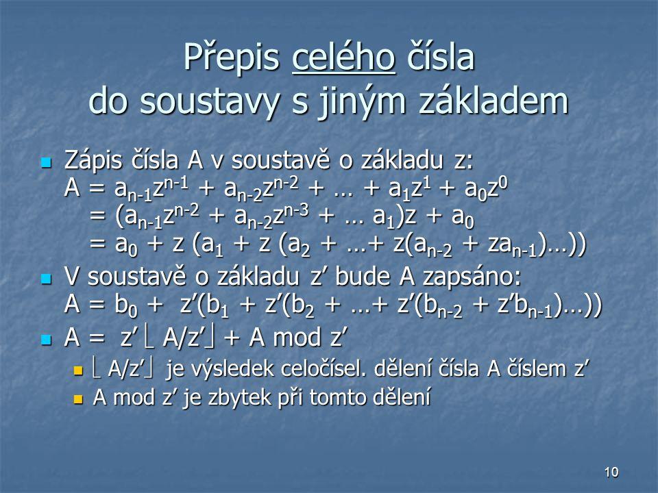 Přepis celého čísla do soustavy s jiným základem