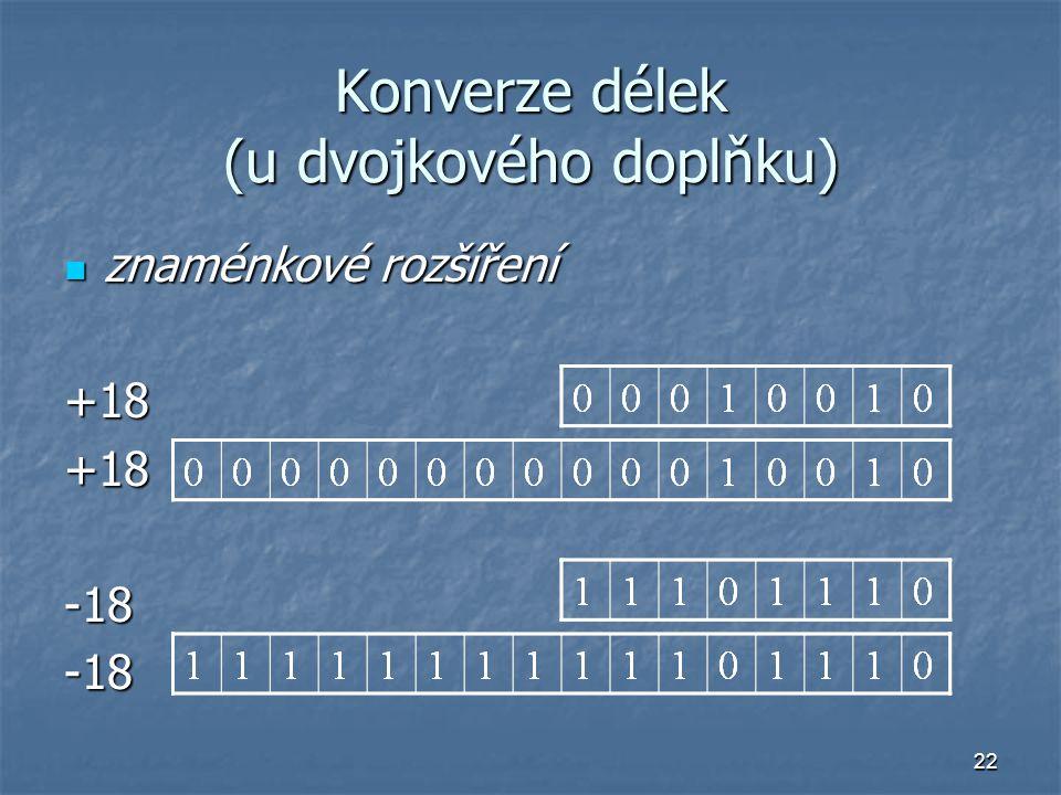 Konverze délek (u dvojkového doplňku)