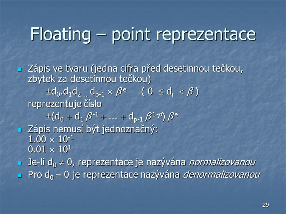 Floating – point reprezentace
