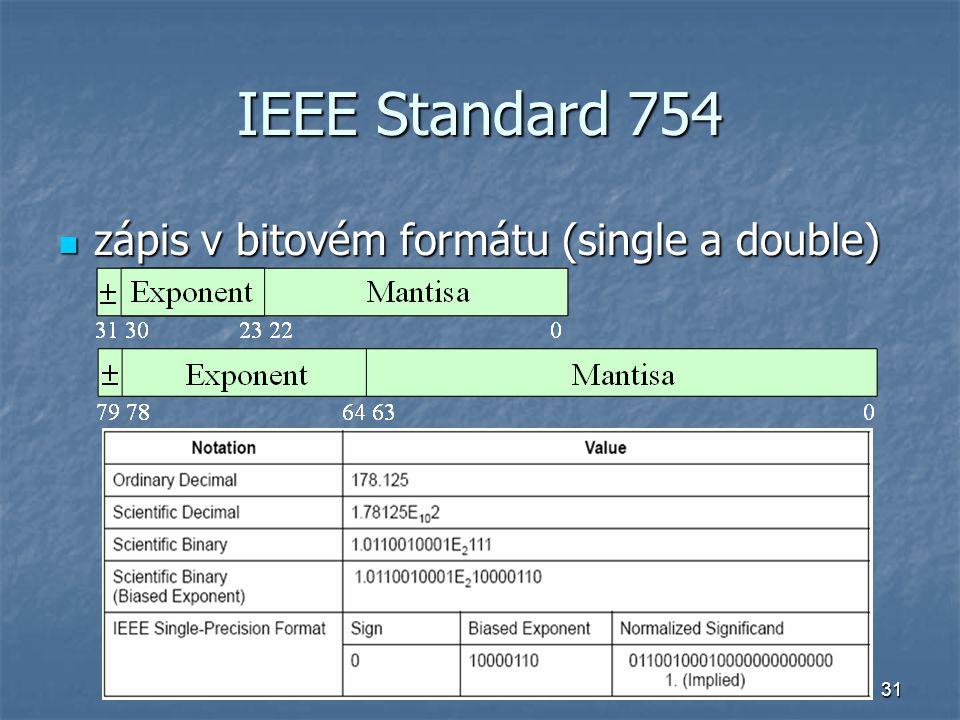 IEEE Standard 754 zápis v bitovém formátu (single a double)