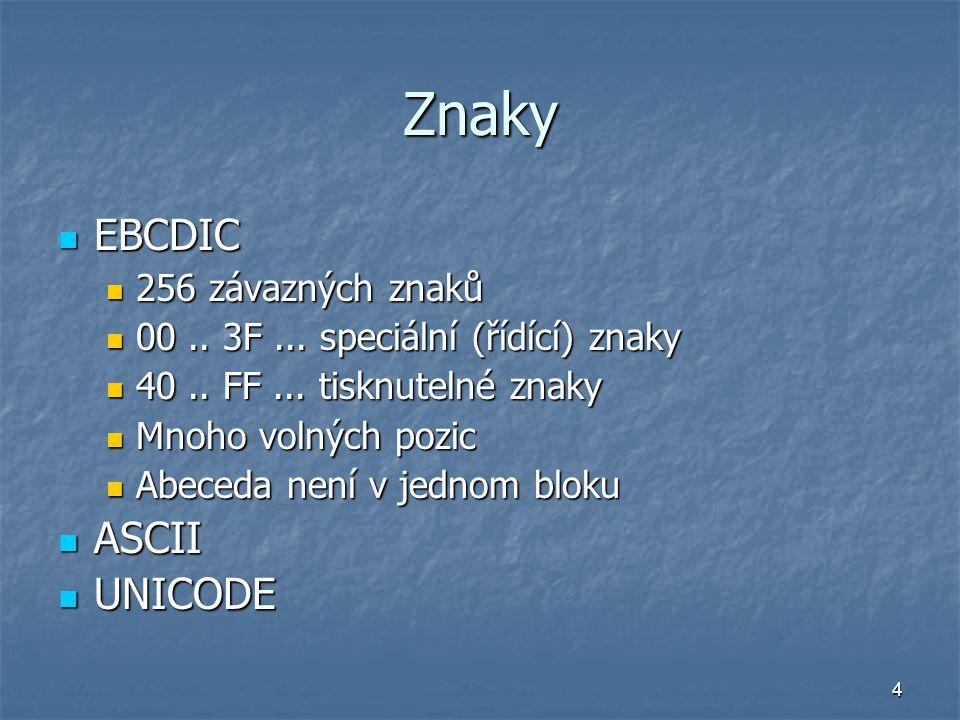 Znaky EBCDIC ASCII UNICODE 256 závazných znaků