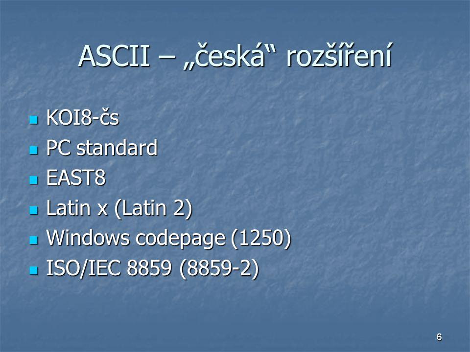 """ASCII – """"česká rozšíření"""