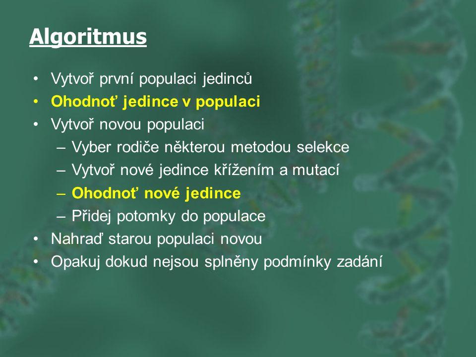 Algoritmus Vytvoř první populaci jedinců Ohodnoť jedince v populaci