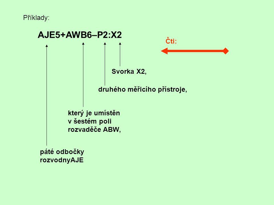 AJE5+AWB6–P2:X2 Příklady: Čti: Svorka X2, druhého měřicího přístroje,