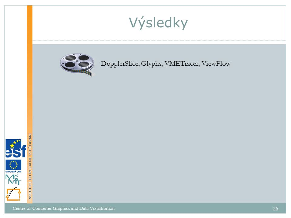 Výsledky DopplerSlice, Glyphs, VMETracer, ViewFlow