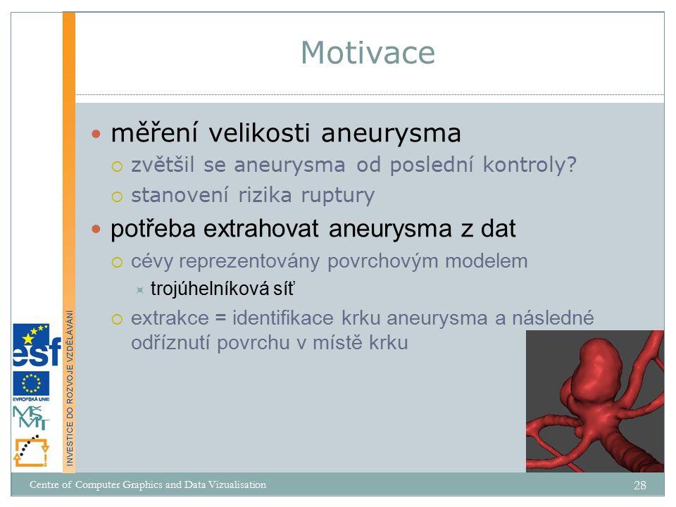 Motivace měření velikosti aneurysma potřeba extrahovat aneurysma z dat