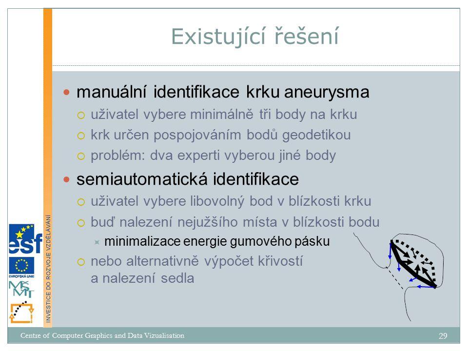 Existující řešení manuální identifikace krku aneurysma