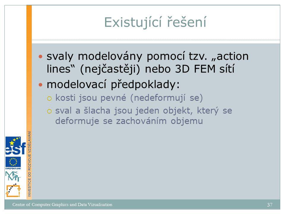 """Existující řešení svaly modelovány pomocí tzv. """"action lines (nejčastěji) nebo 3D FEM sítí. modelovací předpoklady:"""