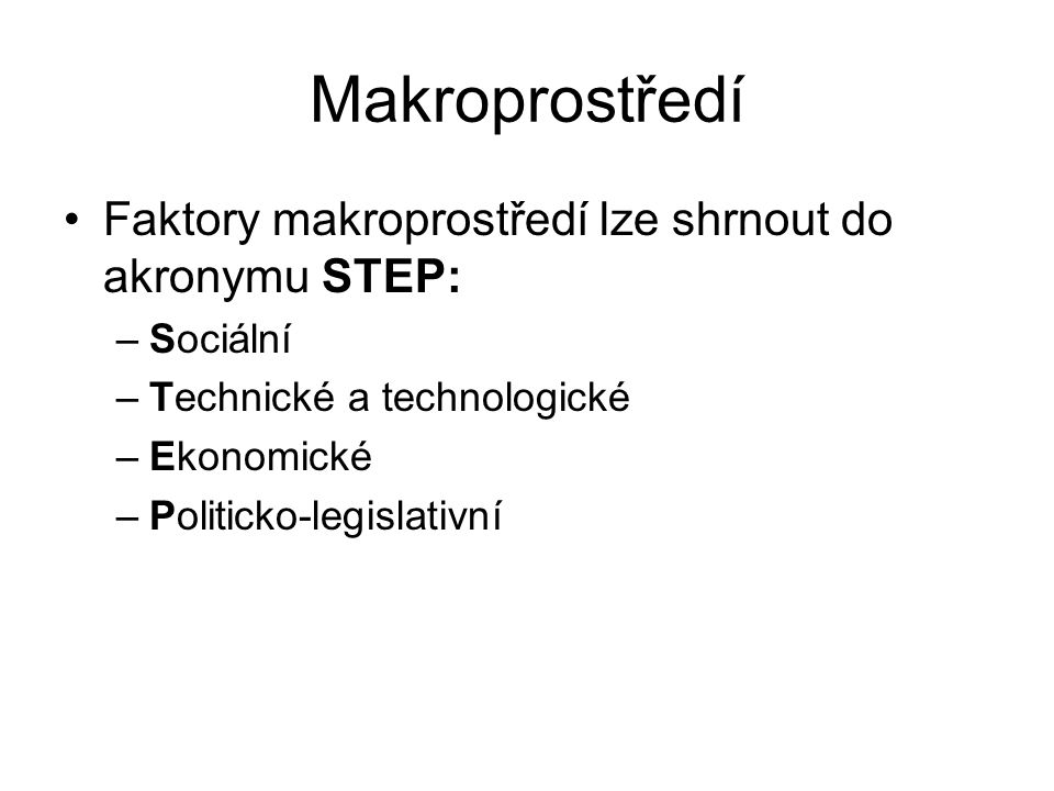 Makroprostředí Faktory makroprostředí lze shrnout do akronymu STEP: