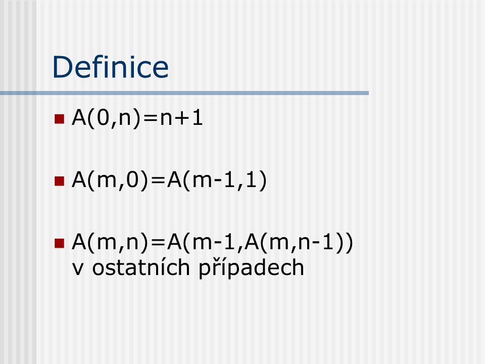 Definice A(0,n)=n+1 A(m,0)=A(m-1,1)