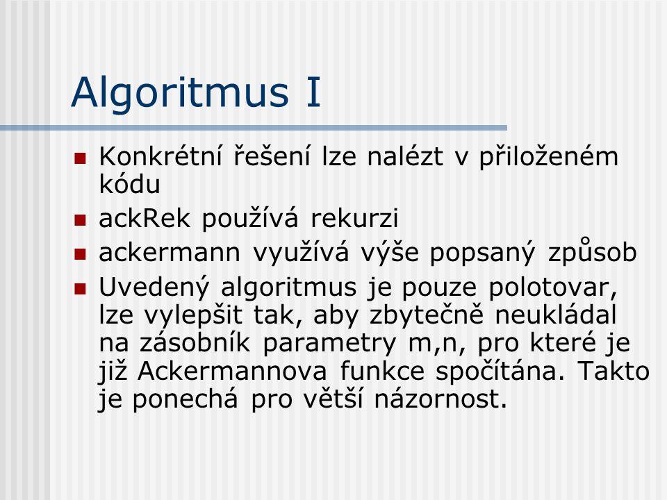 Algoritmus I Konkrétní řešení lze nalézt v přiloženém kódu