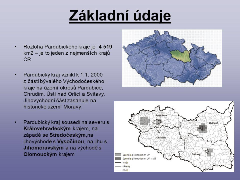 Základní údaje Rozloha Pardubického kraje je 4 519 km2 – je to jeden z nejmenších krajů ČR.