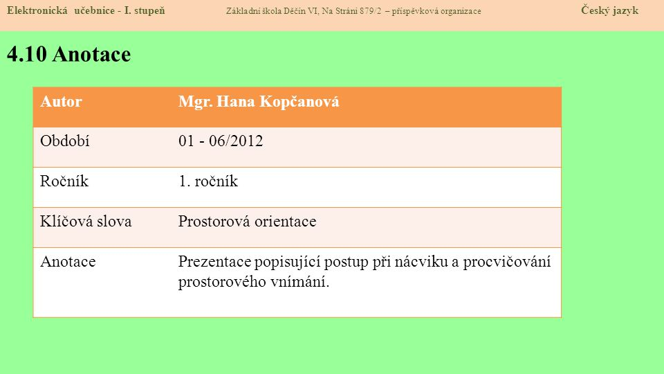 4.10 Anotace Autor Mgr. Hana Kopčanová Období 01 - 06/2012 Ročník
