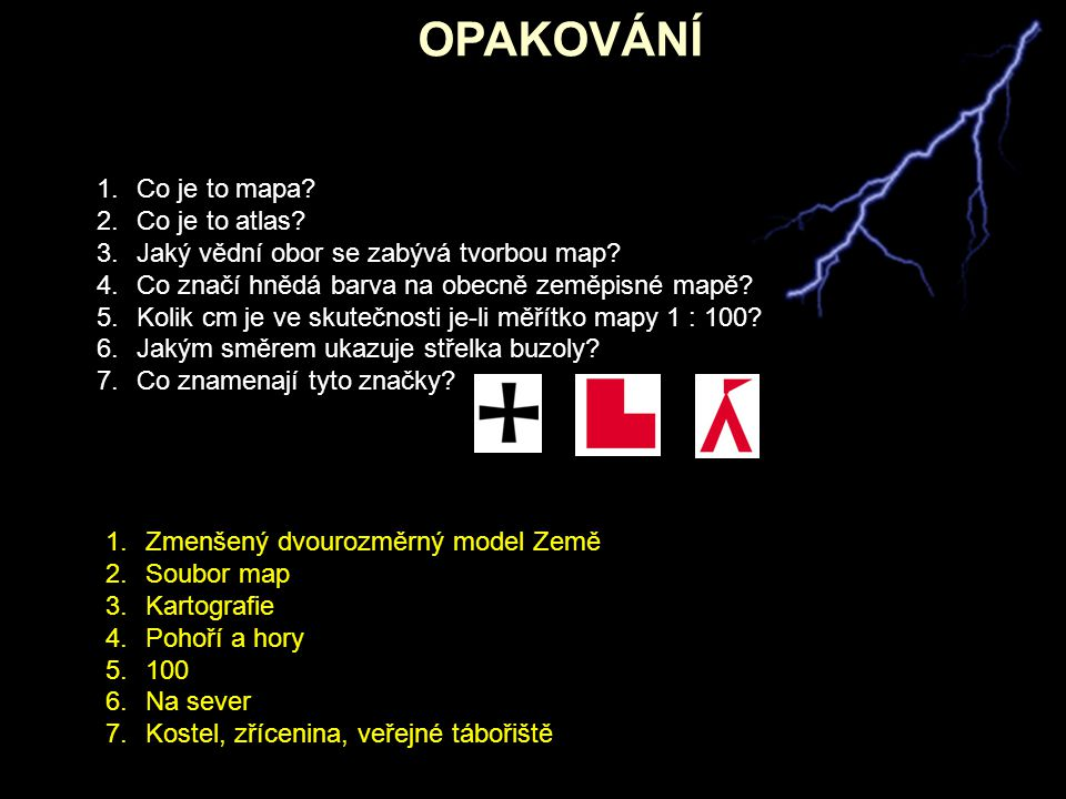 OPAKOVÁNÍ Co je to mapa Co je to atlas