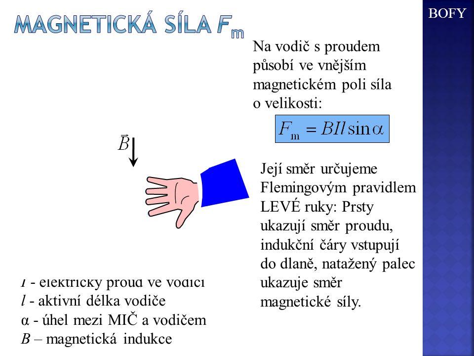BOFY magnetická síla Fm. Na vodič s proudem působí ve vnějším magnetickém poli síla o velikosti: S.