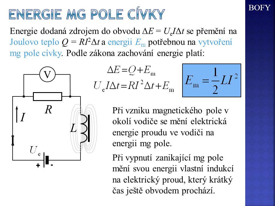 Energie mg pole cívky I R L V