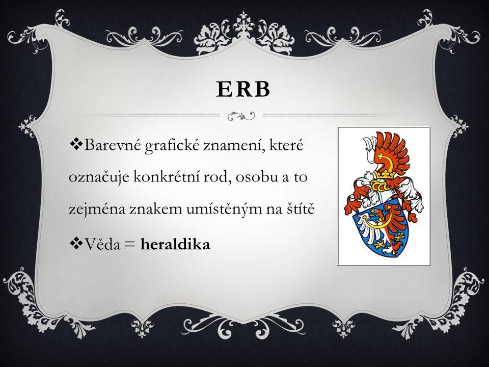 ERB Barevné grafické znamení, které označuje konkrétní rod, osobu a to zejména znakem umístěným na štítě.
