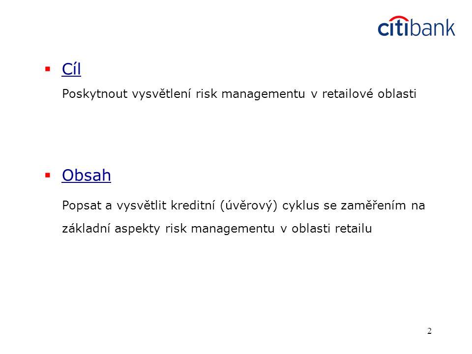 Cíl Poskytnout vysvětlení risk managementu v retailové oblasti. Obsah.
