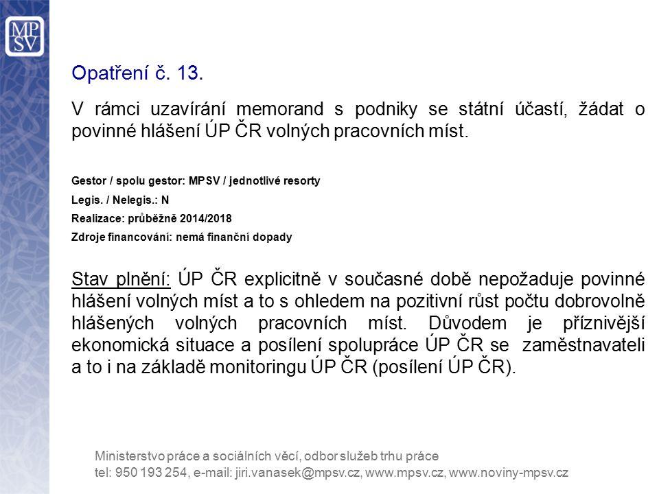 Opatření č. 13. V rámci uzavírání memorand s podniky se státní účastí, žádat o povinné hlášení ÚP ČR volných pracovních míst.