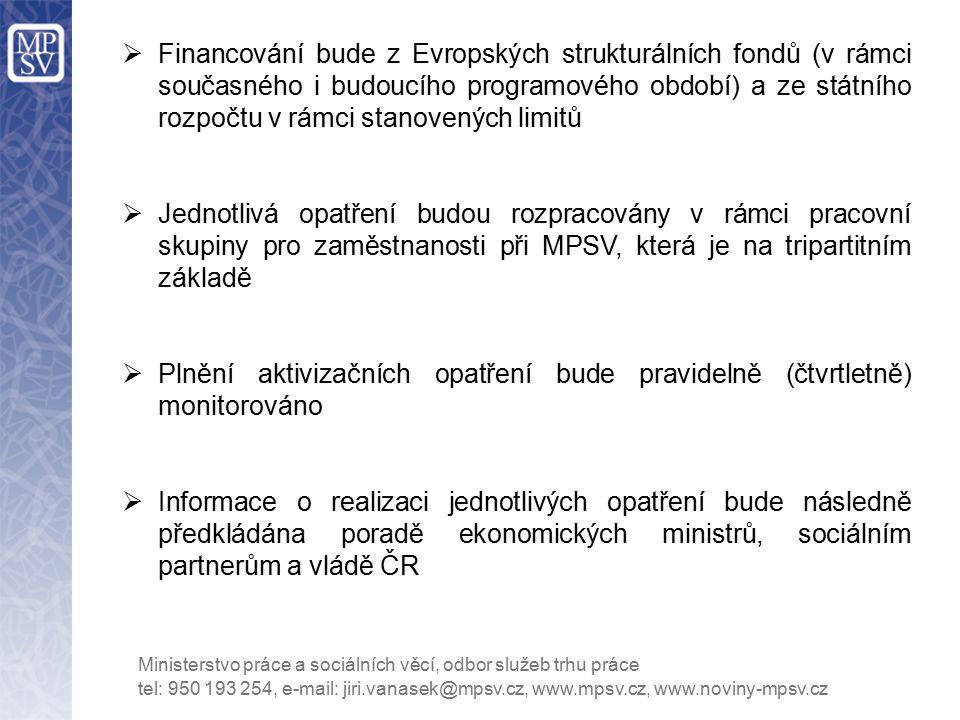 Financování bude z Evropských strukturálních fondů (v rámci současného i budoucího programového období) a ze státního rozpočtu v rámci stanovených limitů