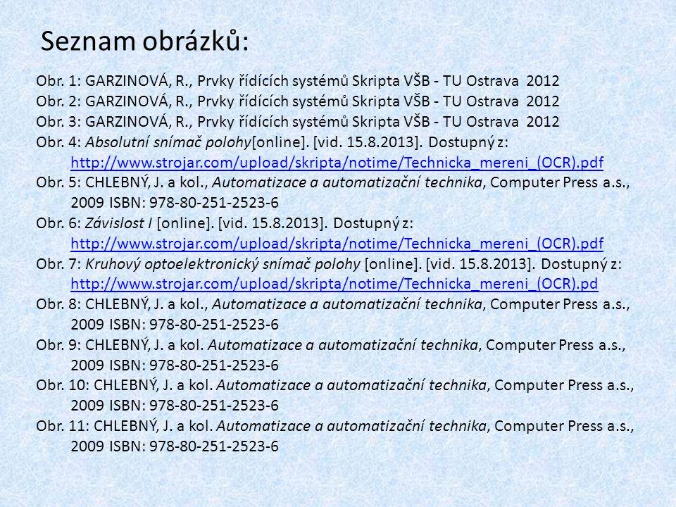 Seznam obrázků: Obr. 1: GARZINOVÁ, R., Prvky řídících systémů Skripta VŠB - TU Ostrava 2012.