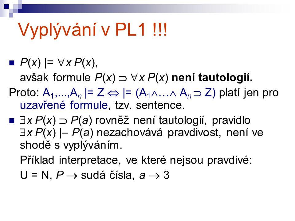 Vyplývání v PL1 !!! P(x) |= x P(x),