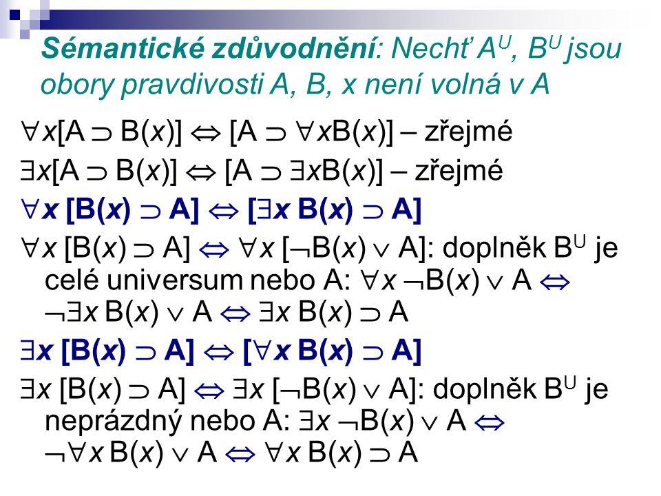 Sémantické zdůvodnění: Nechť AU, BU jsou obory pravdivosti A, B, x není volná v A