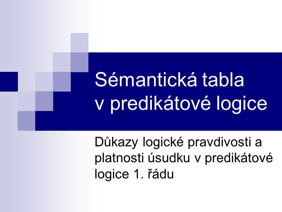 Sémantická tabla v predikátové logice