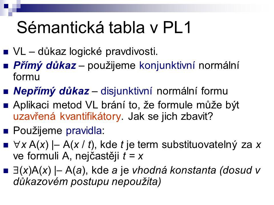 Sémantická tabla v PL1 VL – důkaz logické pravdivosti.