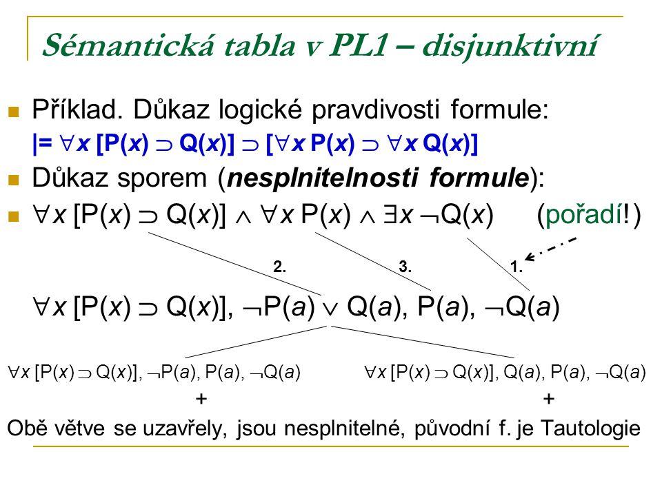 Sémantická tabla v PL1 – disjunktivní