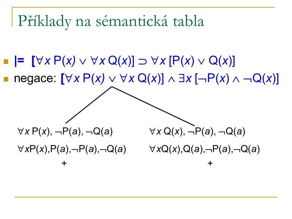 Příklady na sémantická tabla
