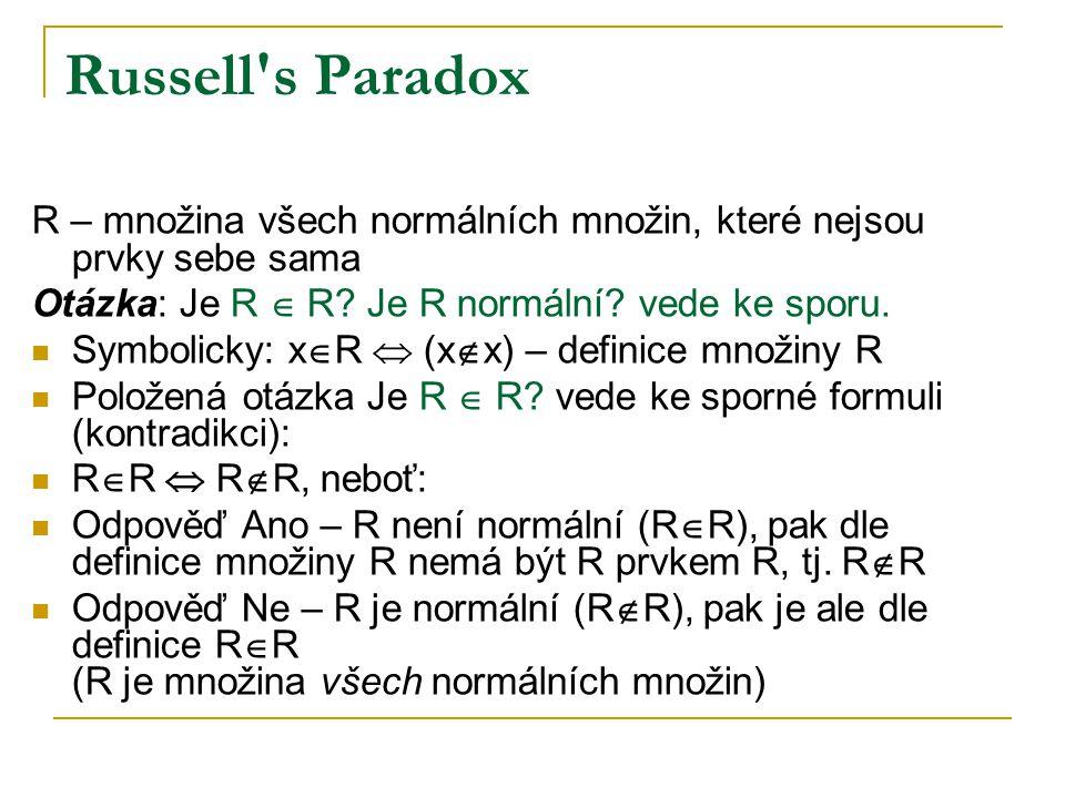 Russell s Paradox R – množina všech normálních množin, které nejsou prvky sebe sama. Otázka: Je R  R Je R normální vede ke sporu.