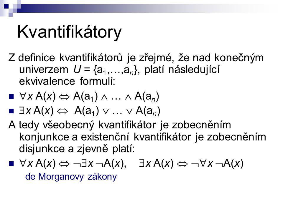 Kvantifikátory Z definice kvantifikátorů je zřejmé, že nad konečným univerzem U = {a1,…,an}, platí následující ekvivalence formulí: