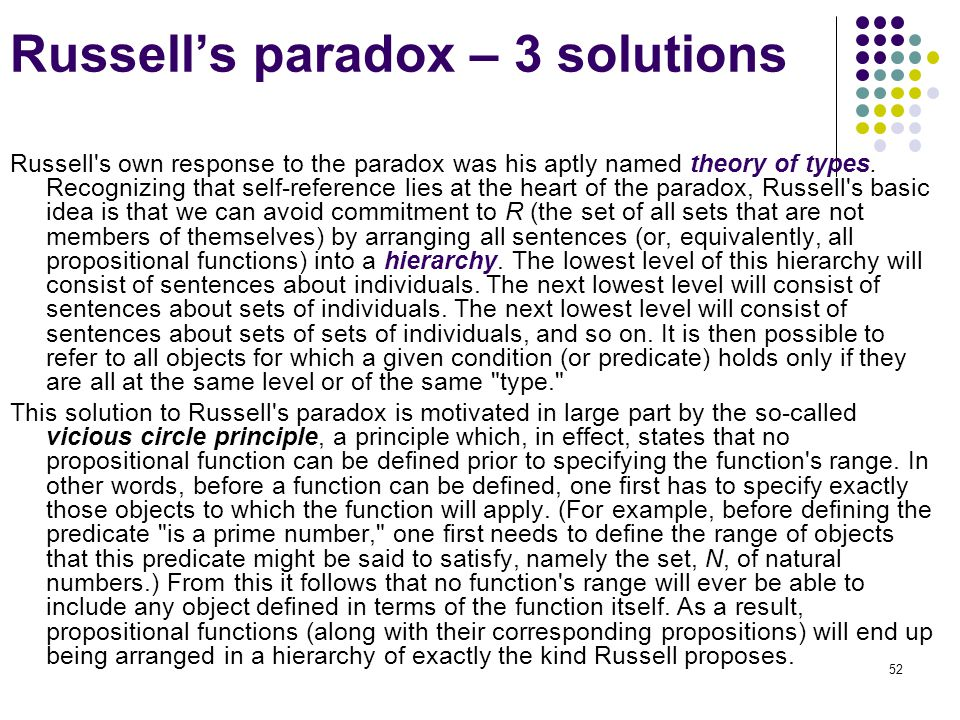 Russell's paradox – 3 solutions