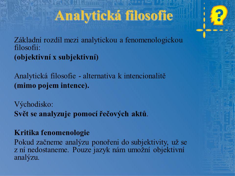 Analytická filosofie Základní rozdíl mezi analytickou a fenomenologickou filosofii: (objektivní x subjektivní)