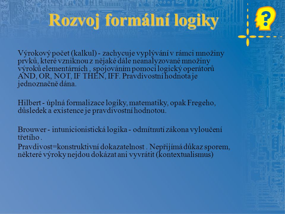 Rozvoj formální logiky