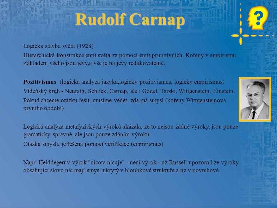 Rudolf Carnap Logická stavba světa (1928)