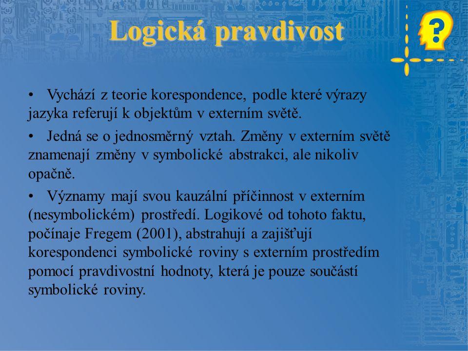 Logická pravdivost Vychází z teorie korespondence, podle které výrazy jazyka referují k objektům v externím světě.