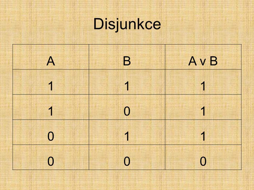 Disjunkce A B A v B 1
