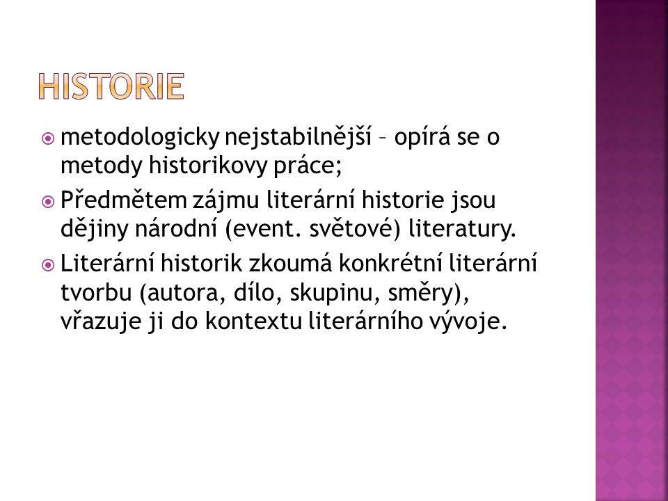 Historie metodologicky nejstabilnější – opírá se o metody historikovy práce;