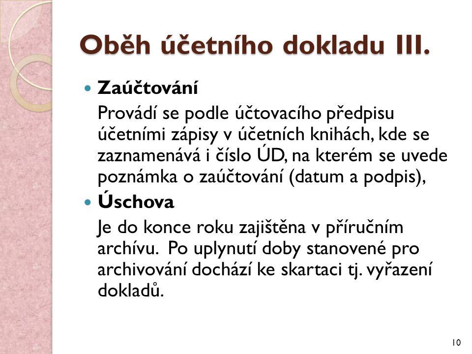 Oběh účetního dokladu III.