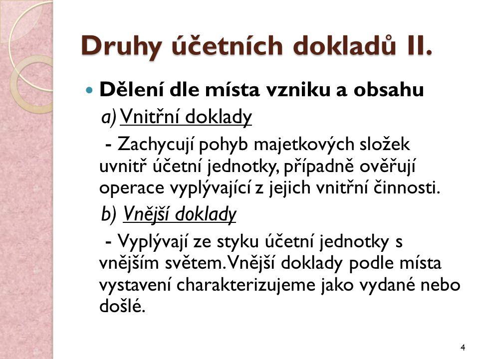 Druhy účetních dokladů II.