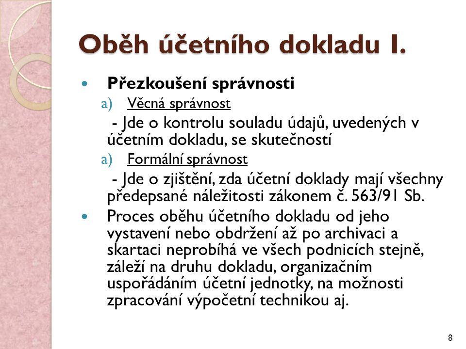 Oběh účetního dokladu I.