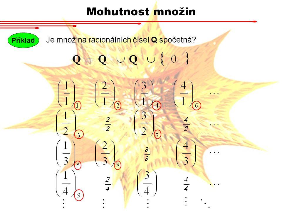 Mohutnost množin Příklad Je množina racionálních čísel Q spočetná