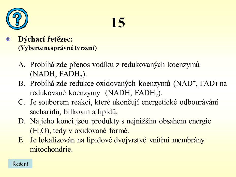 15 Dýchací řetězec: (Vyberte nesprávné tvrzení) Probíhá zde přenos vodíku z redukovaných koenzymů (NADH, FADH2).