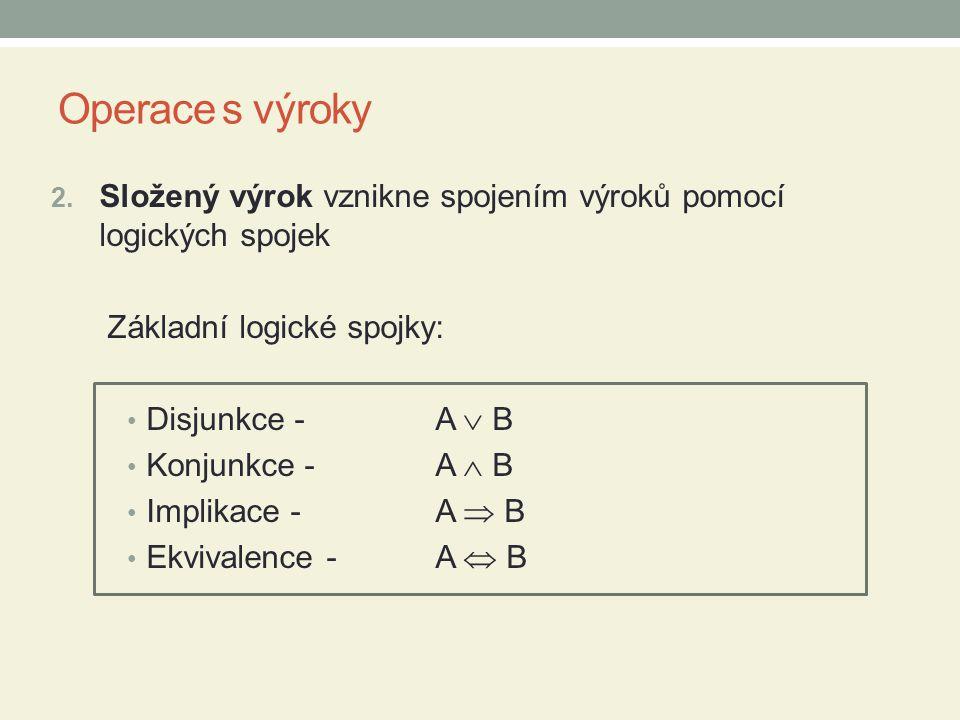 Operace s výroky Složený výrok vznikne spojením výroků pomocí logických spojek. Základní logické spojky: