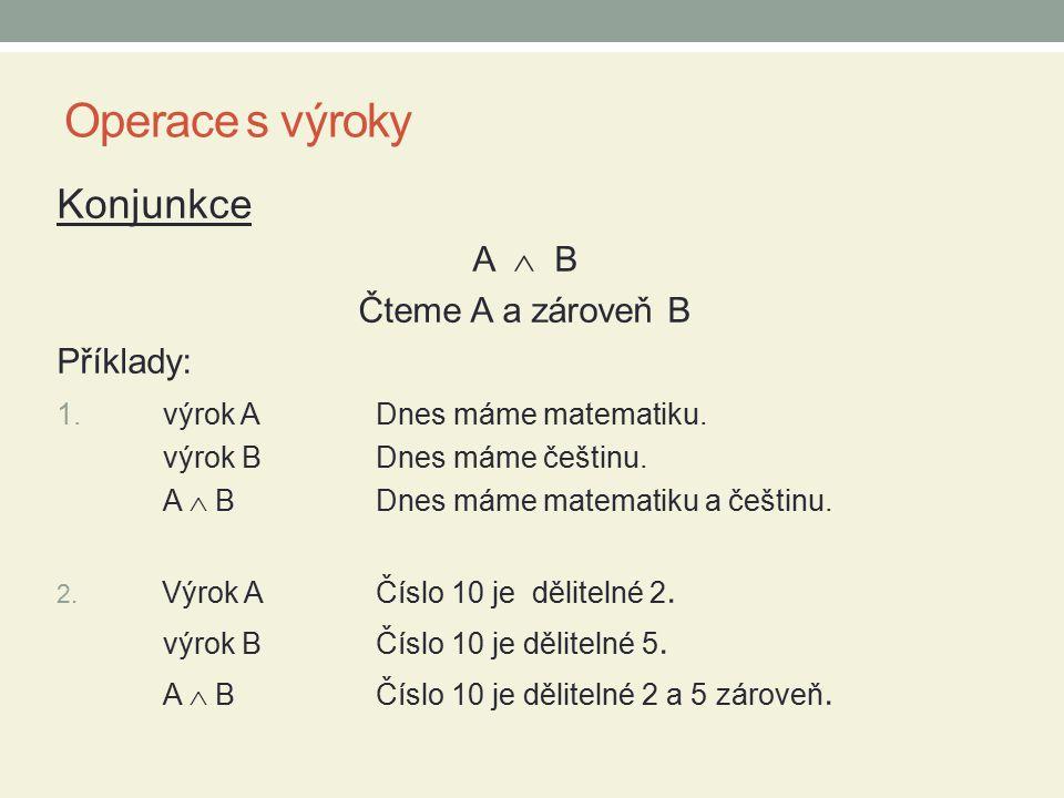 Operace s výroky Konjunkce A  B Čteme A a zároveň B Příklady: