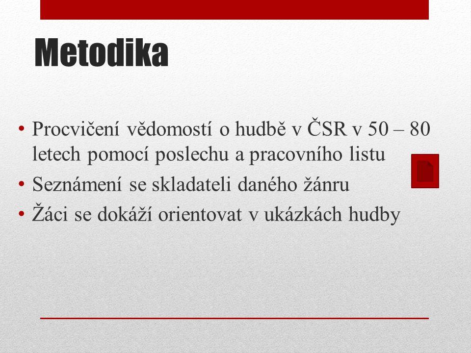 Metodika Procvičení vědomostí o hudbě v ČSR v 50 – 80 letech pomocí poslechu a pracovního listu. Seznámení se skladateli daného žánru.