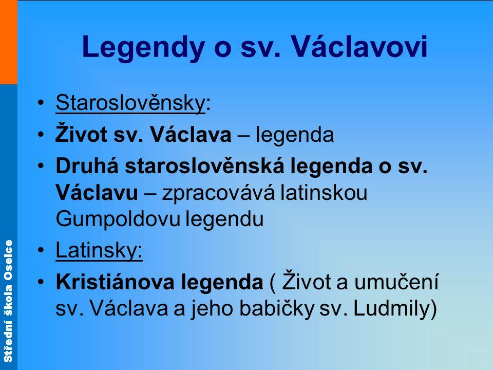 Legendy o sv. Václavovi Staroslověnsky: Život sv. Václava – legenda